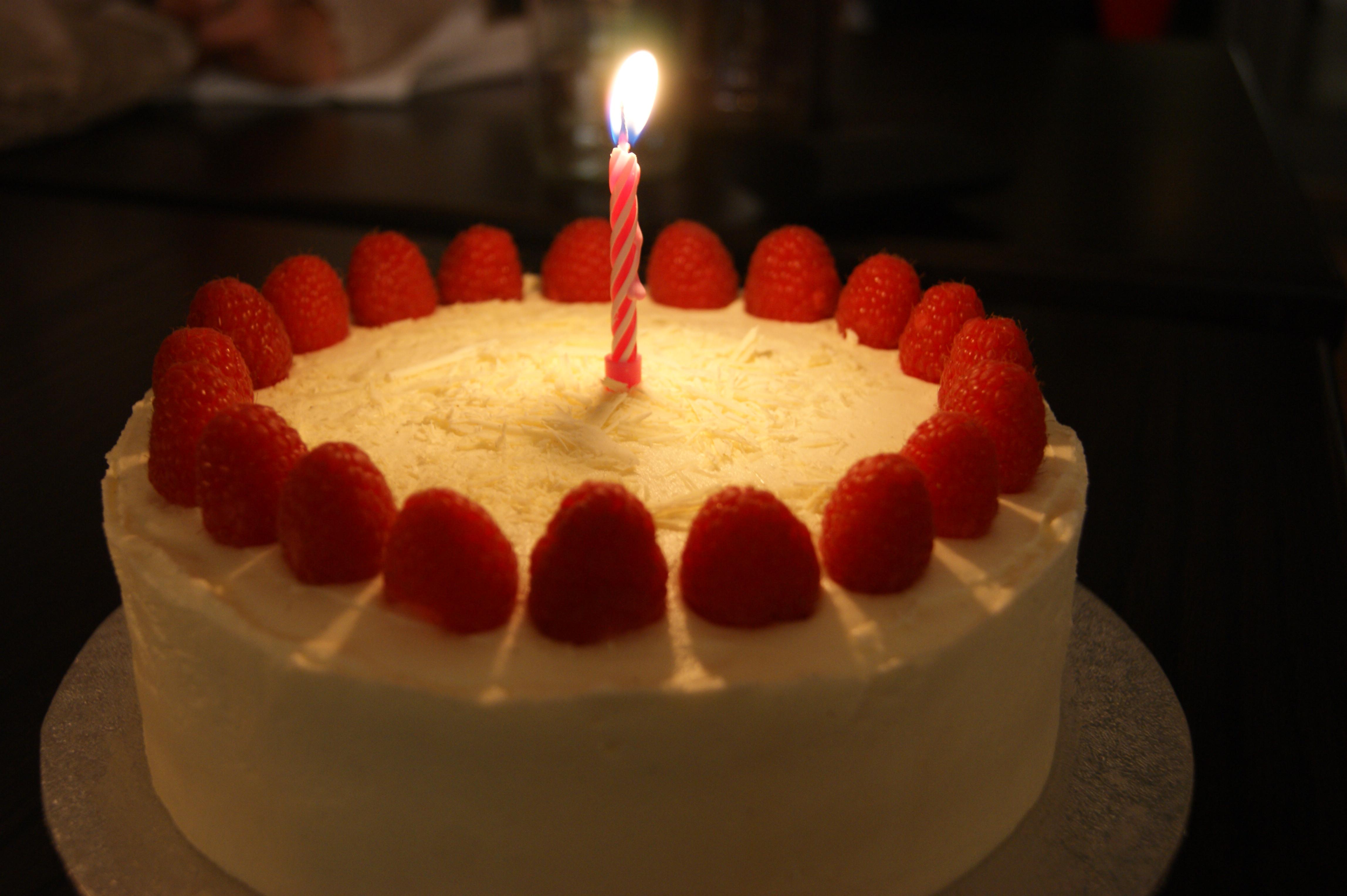 Vanilla raspberry and white chocolate birthday cake for my sister